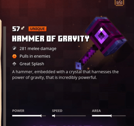 Minecraft Dungeons Hammer of Gravity