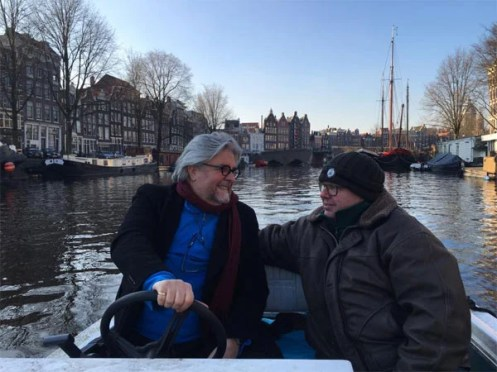 Researching upcoming novel on the canals of Amsterdam. With Maurice Jorissen, member of Amsterdam Handhawing.