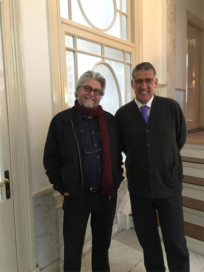 In the refurbished Zuid-Afrikahuis, Amsterdam, two days before the official opening. With Bun Booyens, editor of Cape daily Die Burger.