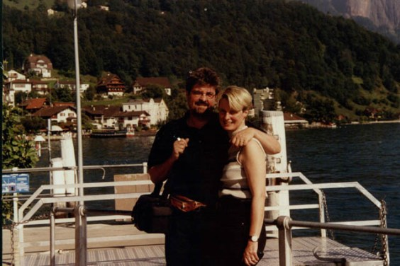 With his wife, Kaia, at Lake Zurich, Switzerland.