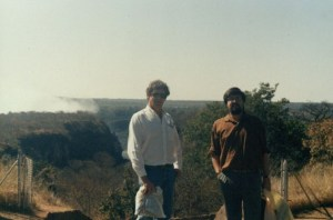 With novelist André P. Brink at the Victoria Falls Conference with the then still banned ANC, Zimbabwe, 1989. They had to slip out of the country secretly for this safari.