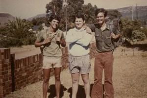 With school friends Dawie (Vaatjie) de Villiers and Koos Kombuis (now a famous singer) at Hermanus, 1973.