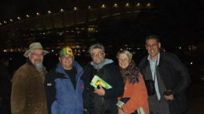 With publisher Kerneels Breytenbach, journalist Dana Snyman, Kaia van Heerden and editor of Die Burger, Bun Booyens, at a World Cup soccer game, Cape Town, 2010.