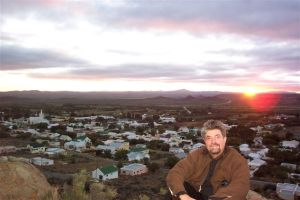 Sunrise in the hills behind Prince Albert in the Karoo. Yearsonend, the village in The Long Silence of Mario Salviati, is of a similar nature.