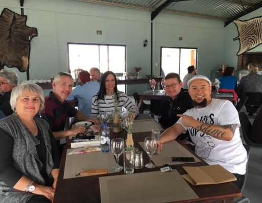 Lunch at Buffelshoek Dirosie Game Lodge, with Wilna Adriaanse, Christa du Plessis, Cas Wepener and HemelBesem