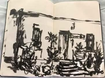 A sketch of a Cradock Karoo cottage by Kirby van der Merwe