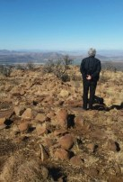 Looking at the fields where the Van Heerden family used to farm. The Fish River Valley.