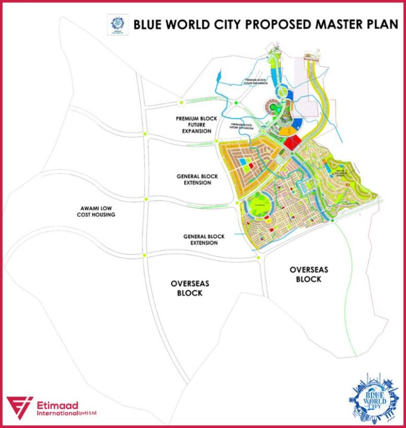 Proposed Master Plan of Blue World City Islamabad