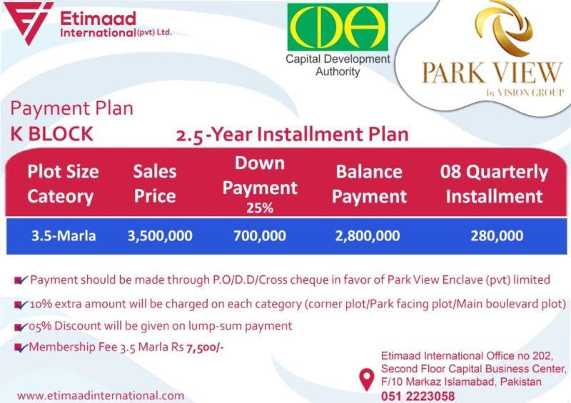 Payment Plan Park View City K Block: