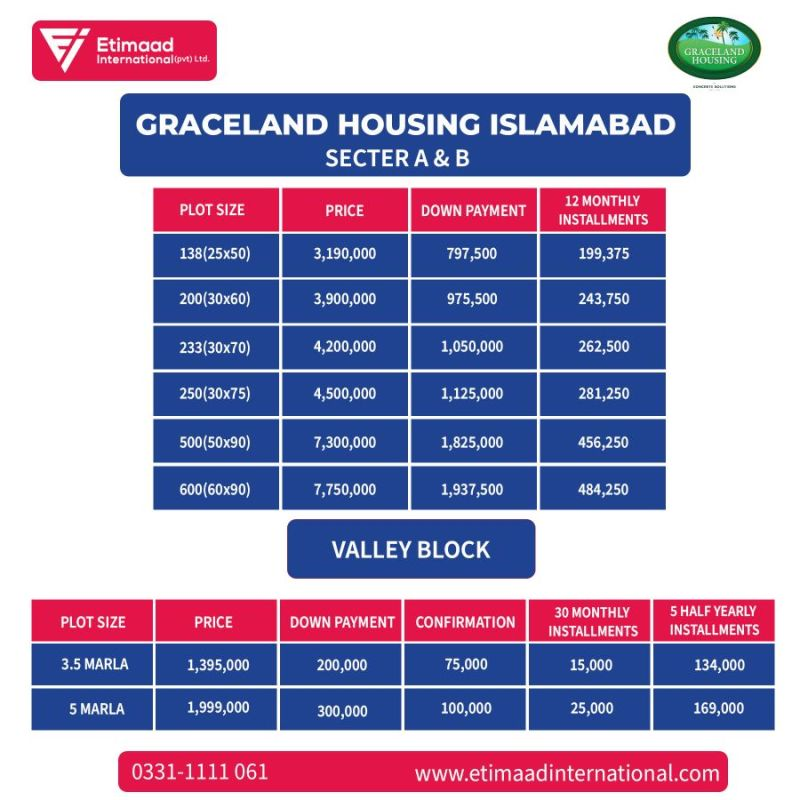Graceland Housing Society Islamabad Payment Plan