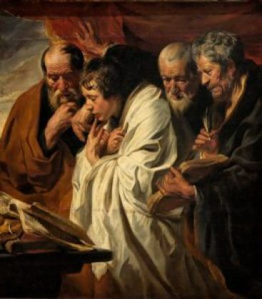 Jacob Jordaens depicted the writers of the four Gospels, c. 1625—1630