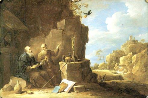 David Teniers the Younger (1610—1690), 'Saint Anthony abbot meets Saint Paul the hermit'