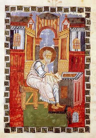 Armenian Gospel of Moghni, miniature St. Matthew (11th century, Yerevan, Matenadaran)