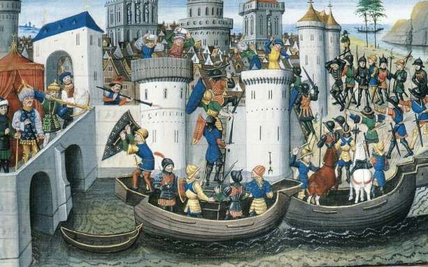 15th-century depiction of the Conquest of Constantinople during the Fourth Crusade in 1204