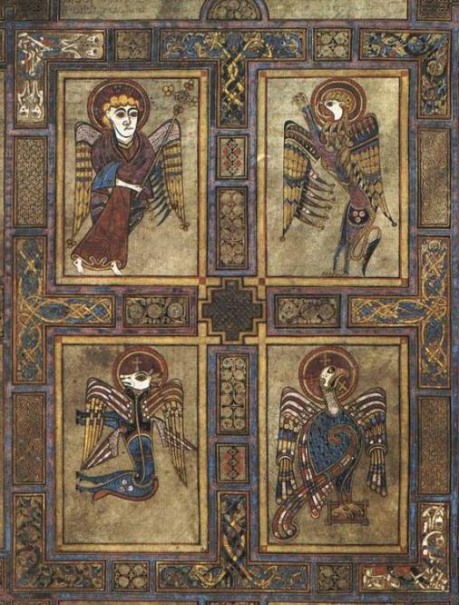 Folio 27v from the Book of Kells showing the four evangelists symbolized. Courtesy of Wikimedia Commons