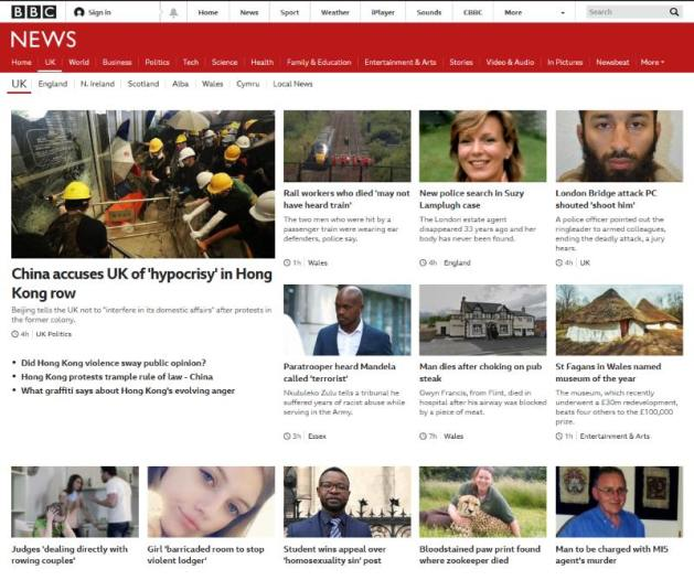 Screen capture of the BBC News > UK page yesterday (3 July) at approximately 22:25 BST