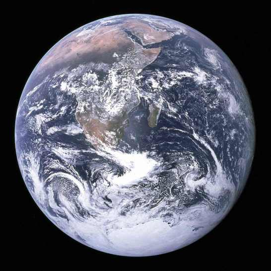 Earth seen from the Apollo 17 spacecraft. Courtesy of Wikimedia Commons