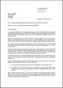 My recent complaint letter to the BBC over its coverage of the closure of Reading Chick-fil-A