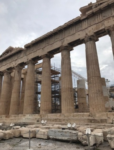 The Eastern facade of the Parthenon on top of the Acropolis, Athens