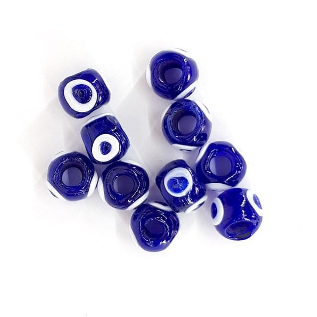 Nazar Boncuğu Cam Mavi Yuvarlak Halka Boncuk 2 cm Delikli