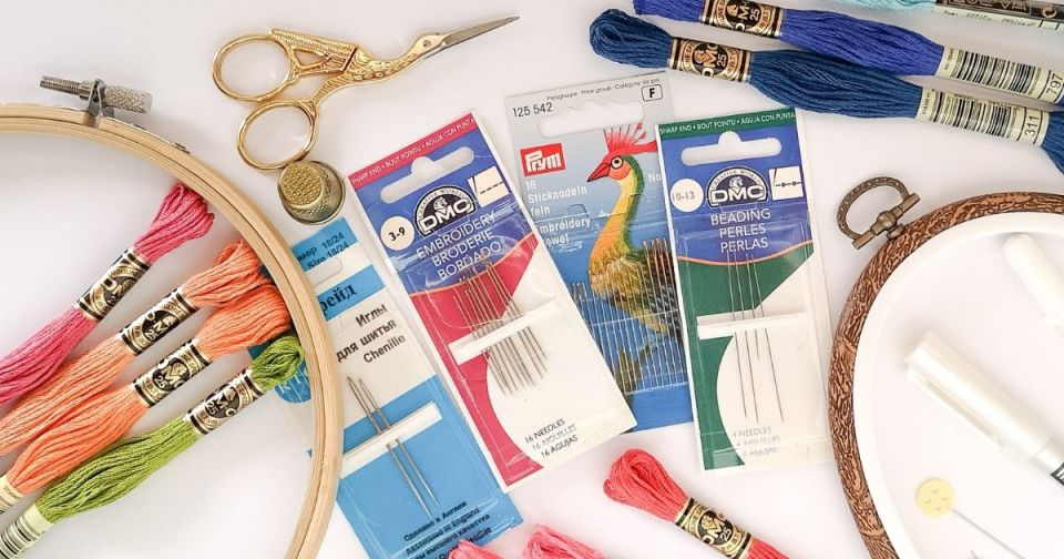 Hand embroidery needles, scissors and threads