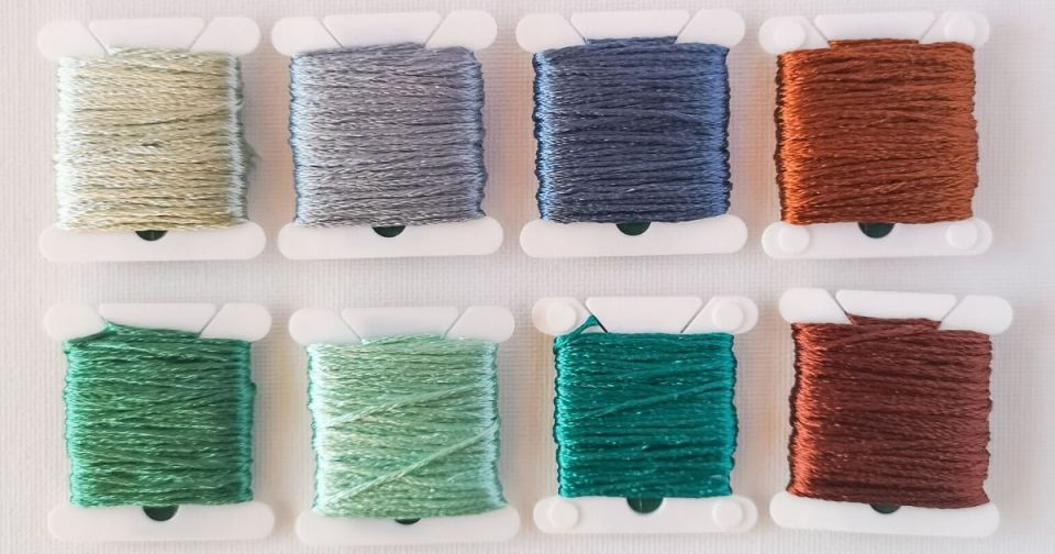 Rayon floss on spools in 8 colors, hand embroidery thread