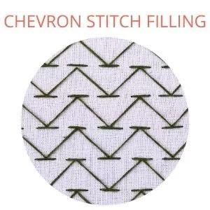 Chevron stitch filling embroidery