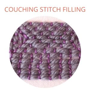 Couching stitch filling square, grey and violet