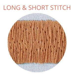 Long and short stitch filling, light brown
