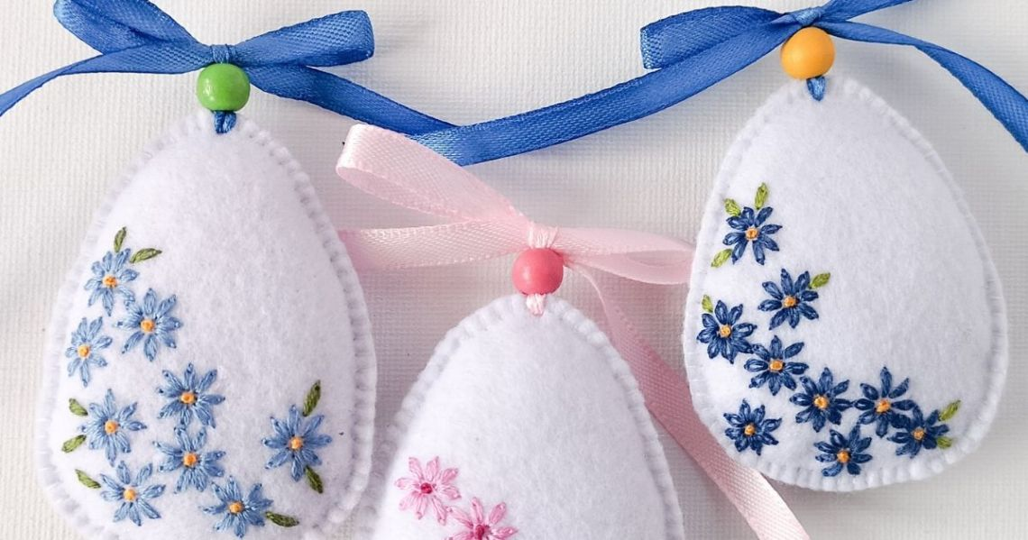 Easter Egg felt decorations with Daisies embroidery