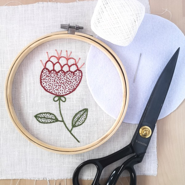 Materials for framing in a hoop, embroidery, scissors, cotton thread, hoop