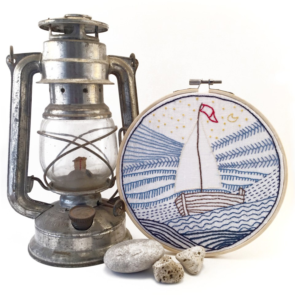 Nursery textile art sail boat hand embroidery