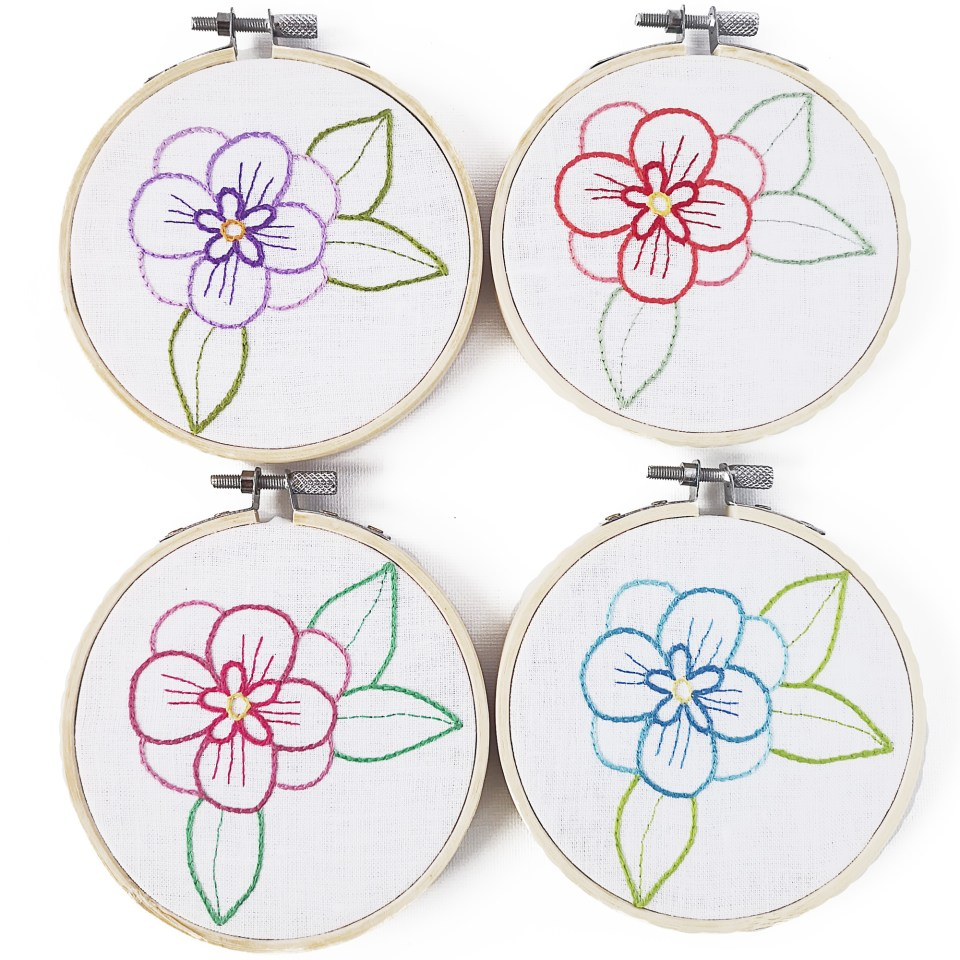 Small flower embroidery in four colorways hoop art
