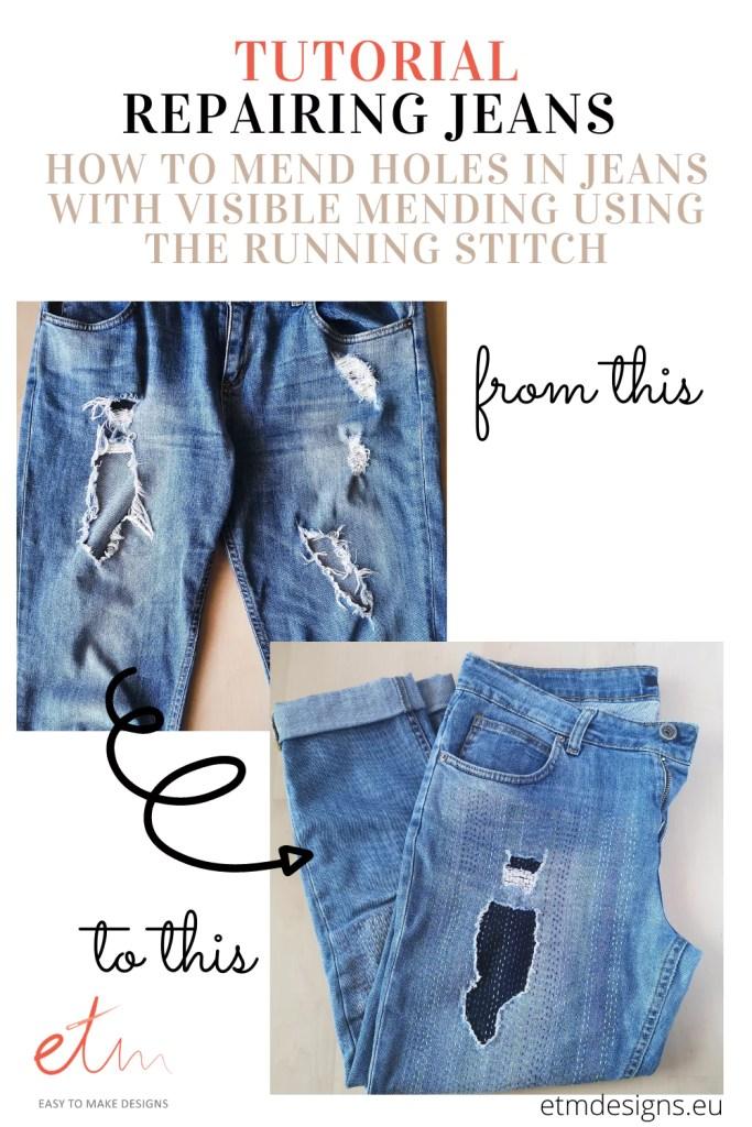 Tutorial. Repairing jeans with visible mending PIN