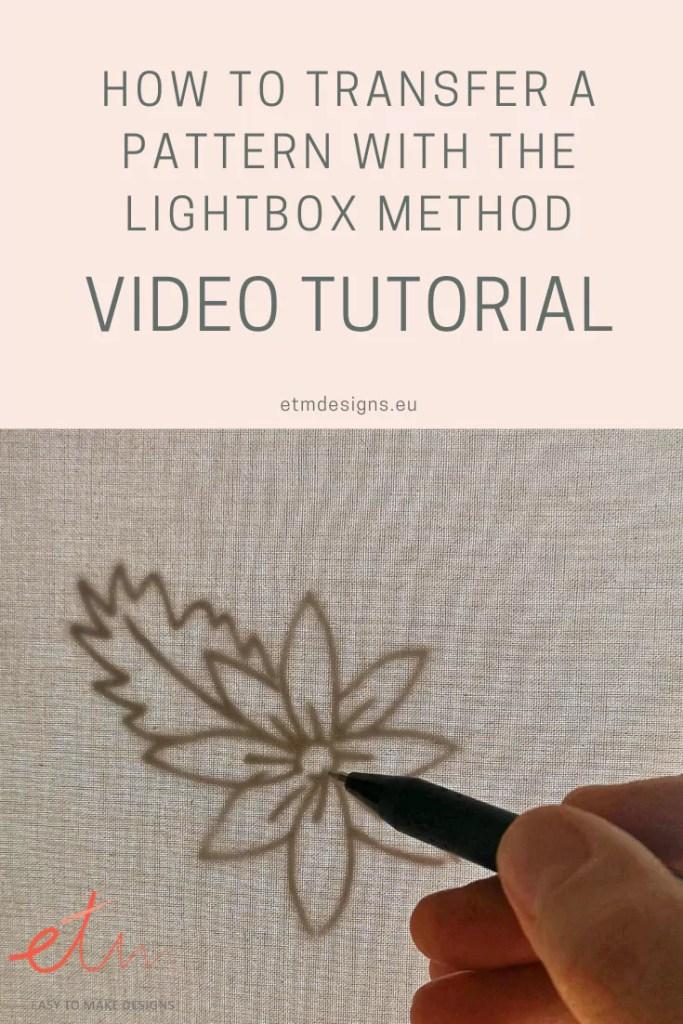 Pattern transferring lightbox method
