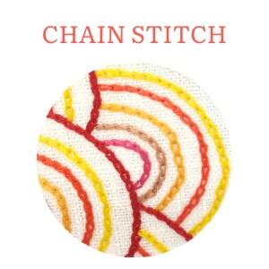 Chain stitch hand embroidery