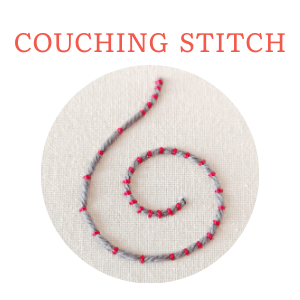 Couching stitch hand embroidery