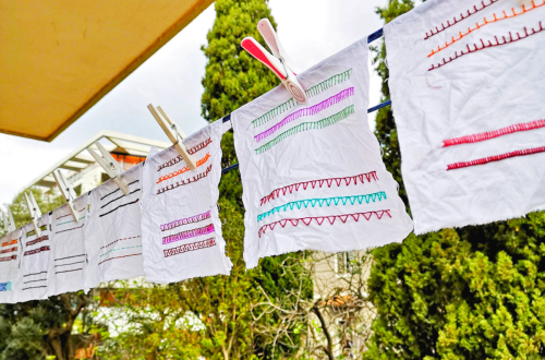 How to wash hand embroidery - embroidery samplers drying