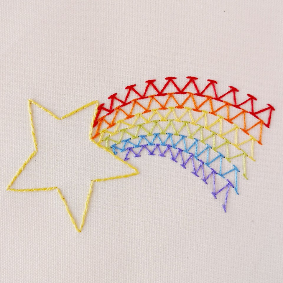 Rainbow comet embroidery pattern