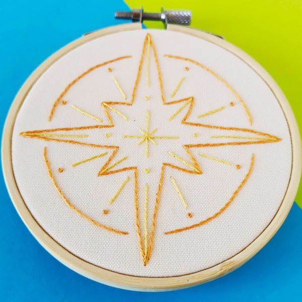 Hand embroidery pattern north star