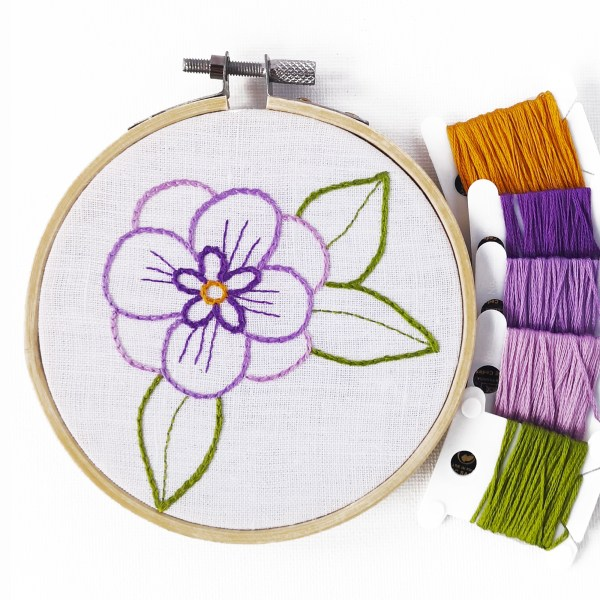 Small flower embroidery pattern purple