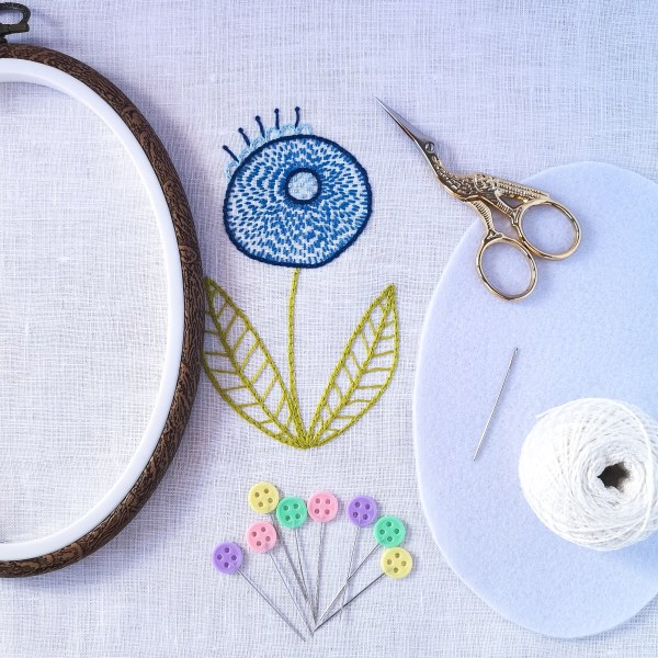 Blue flower embroidery pattern