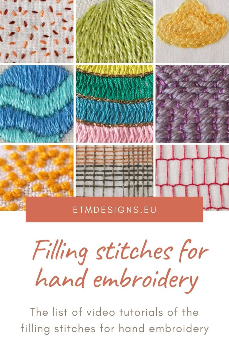 Filling stitches for hand embroidery