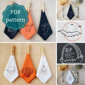 Bundle of 6 halloween embroidery pdf patterns