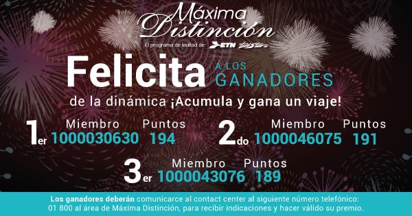 ¡Felicitamos a los ganadores de la Promoción Acumula y Gana una Experiencia!