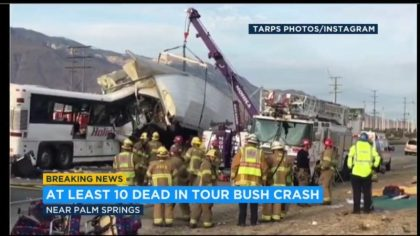 Death on Interstate 10 for 13 tourists on a tour bus