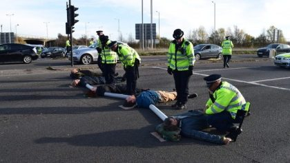 "London police arrests 15 Heathrow protesters for ""public order offences"""