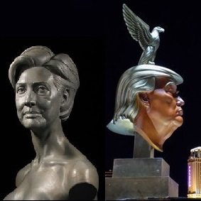 Sculptor of Hillary's 'topless' bust unveils controversial Trump monument in Las Vegas