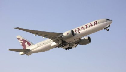 Qatar Airways prepares to land in Las Vegas