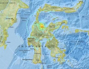Strong earthquake hits Indonesia's Sulawesi island